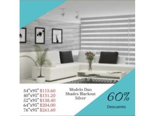 CORTINAS DUO SHADES BLACKOUT SILVER 60%, Cortinas Duo-Shades Puerto Rico Puerto Rico