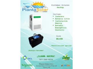 Sistema backup con litio, Planta Solar 7873884636 Puerto Rico