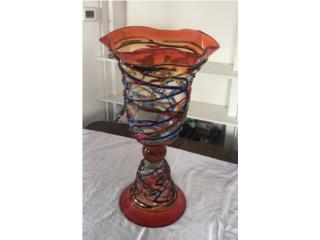Murano Glass Pedestal Vase.  34, Mr. Bond Vintage Puerto Rico