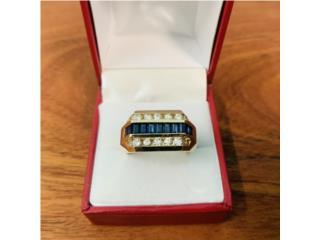 Anillo Caballero Oro 14kt Zafiros y Diamantes, Cashex Puerto Rico