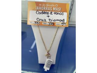 Cadena estilo Gucci dos tonos con charm cruz, La Familia Casa de Empeño y Joyería-Caguas T2 Puerto Rico