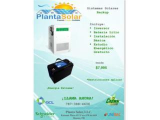 Sistemas Solares con baterias de litio, Planta Solar 7873884636 Puerto Rico