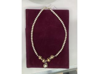 Collar de Perlas 14kt con diamantes .1, La Familia Casa de Empeño y Joyería-San Juan 2 Puerto Rico