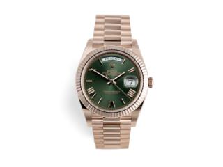 Rolex Day-Date 40 Rose Gold /Green, CHRONO - SHOP Puerto Rico