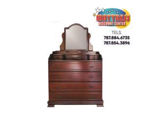 Gavetero con Espejo Mod. Granada 100% Madera, Mattress Discount Center Puerto Rico