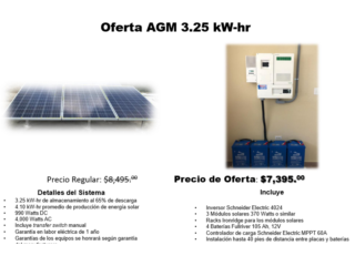 OFERTA AGM 3.25 KW-hr, Dynamic Solar Puerto Rico